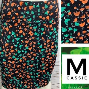 M Cassie black background orange floral print